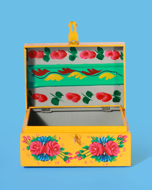 Load image into Gallery viewer, Hand-Painted Peacock Storage Box, Yellow