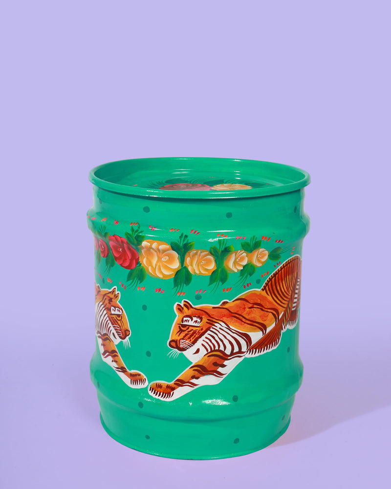 Hand-Painted Tiger Storage Drum, Turquoise