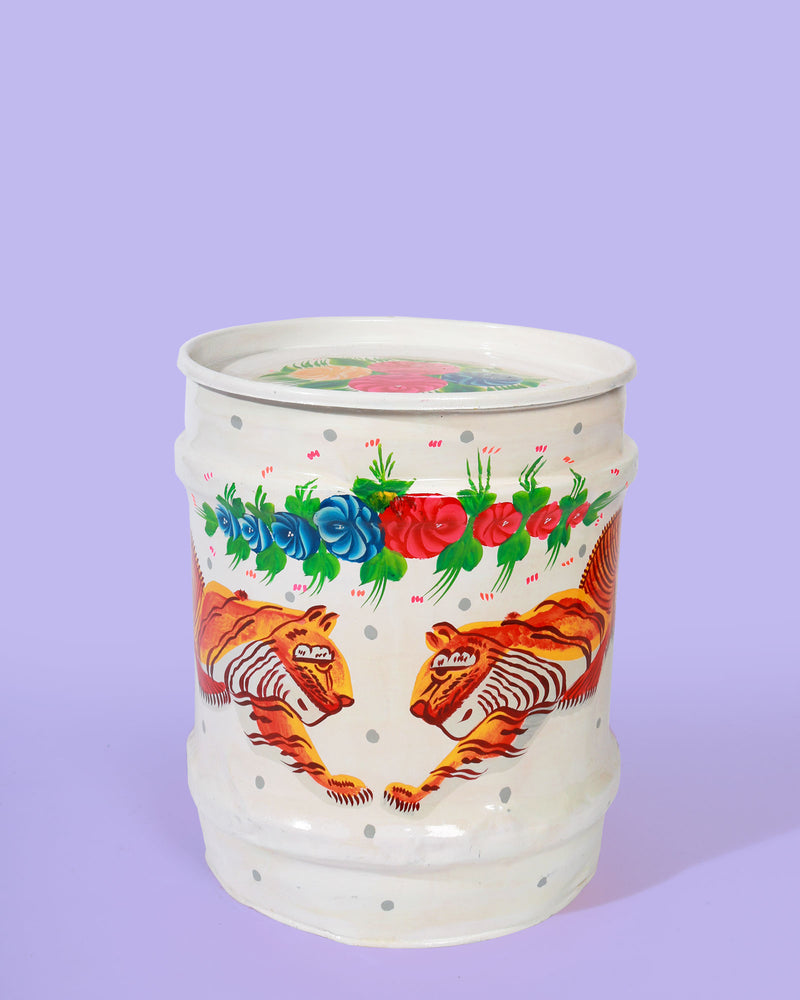 Hand-Painted Tiger Storage Drum, White