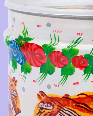 Load image into Gallery viewer, Hand-Painted Tiger Storage Drum, White