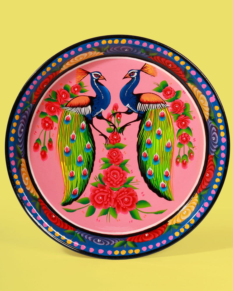 Hand-Painted Enamel Peacock Tray, Pink