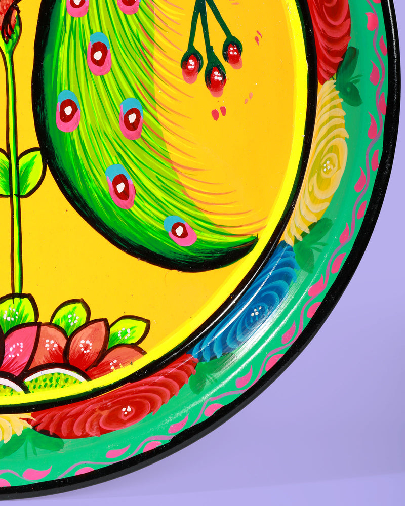 Hand-Painted Enamel Peacock Tray, Yellow