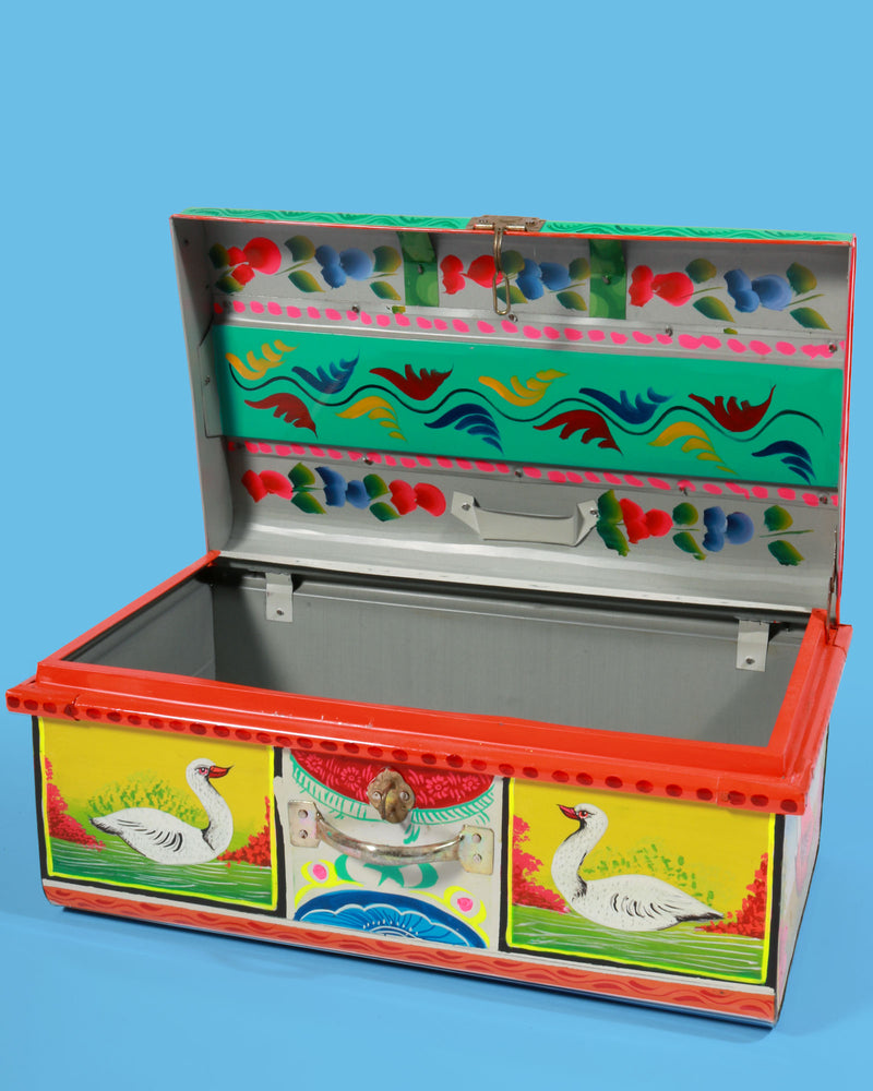 Hand-Painted Birds Storage Trunk