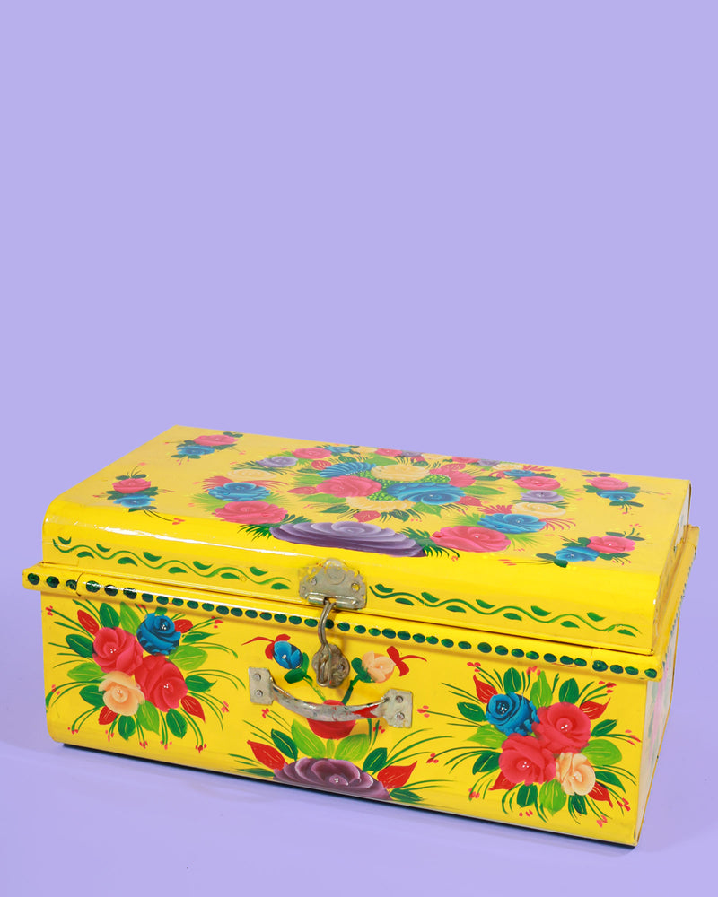Hand Painted Floral Storage Trunk, Yellow