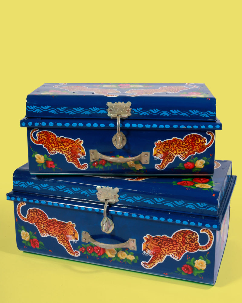 Hand Painted Leopard Storage Trunk, Navy