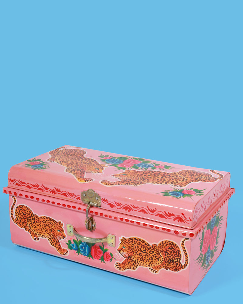 Hand Painted Leopard Storage Trunk, Pink