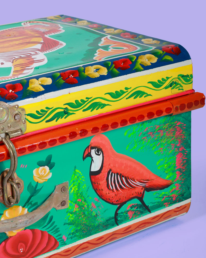 Hand Painted Tiger Storage Trunk, Turquoise