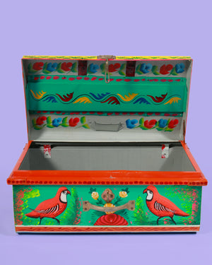 Load image into Gallery viewer, Hand Painted Tiger Storage Trunk, Turquoise