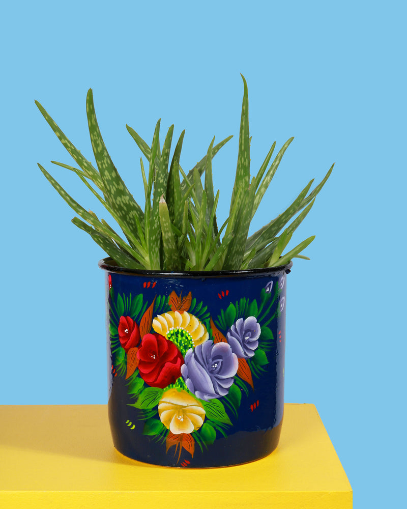 Hand-Painted Pot, Navy Floral