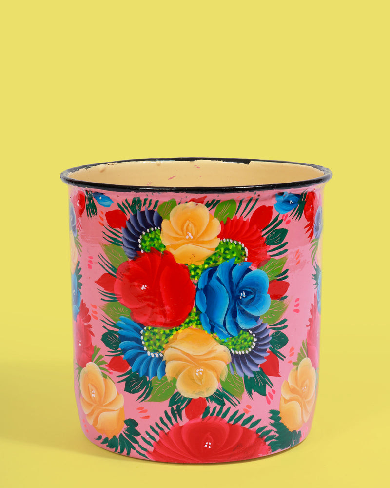 Hand-Painted Pot, Pink Floral