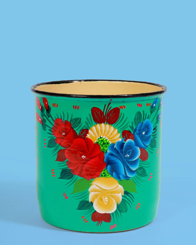 Hand-Painted Pot, Turquoise Floral