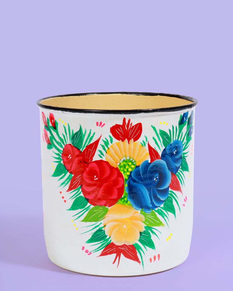 Hand-Painted Pot, White Floral
