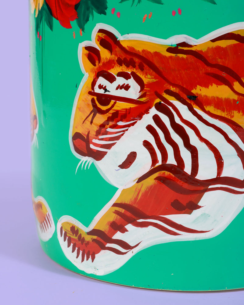 Hand-Painted Pot, Turquoise Tiger