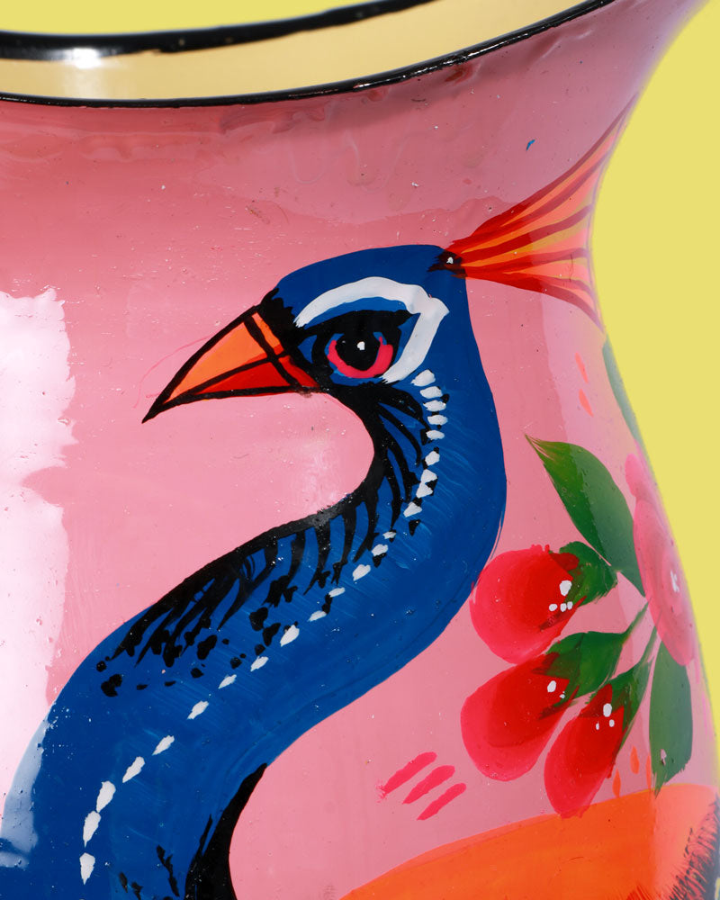 Load image into Gallery viewer, Hand-Painted Enamel Peacock Jug, Pink