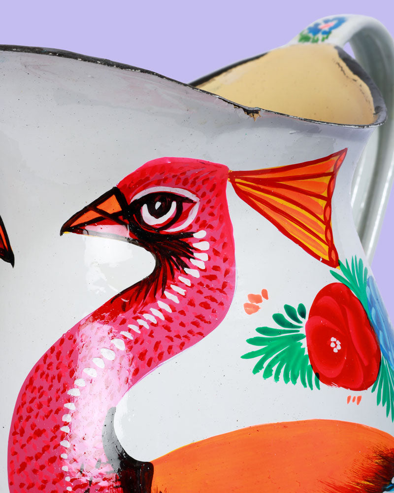 Hand-Painted Enamel Peacock Jug, White