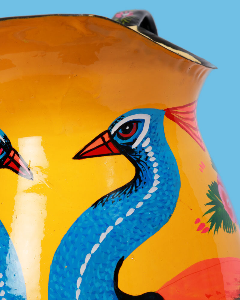 Hand-Painted Enamel Peacock Jug, Yellow