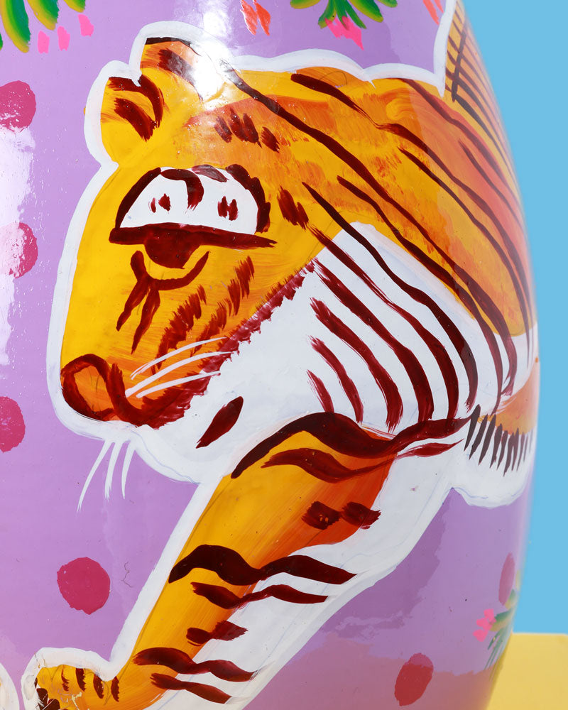Hand-Painted Enamel Tiger Jug, Purple