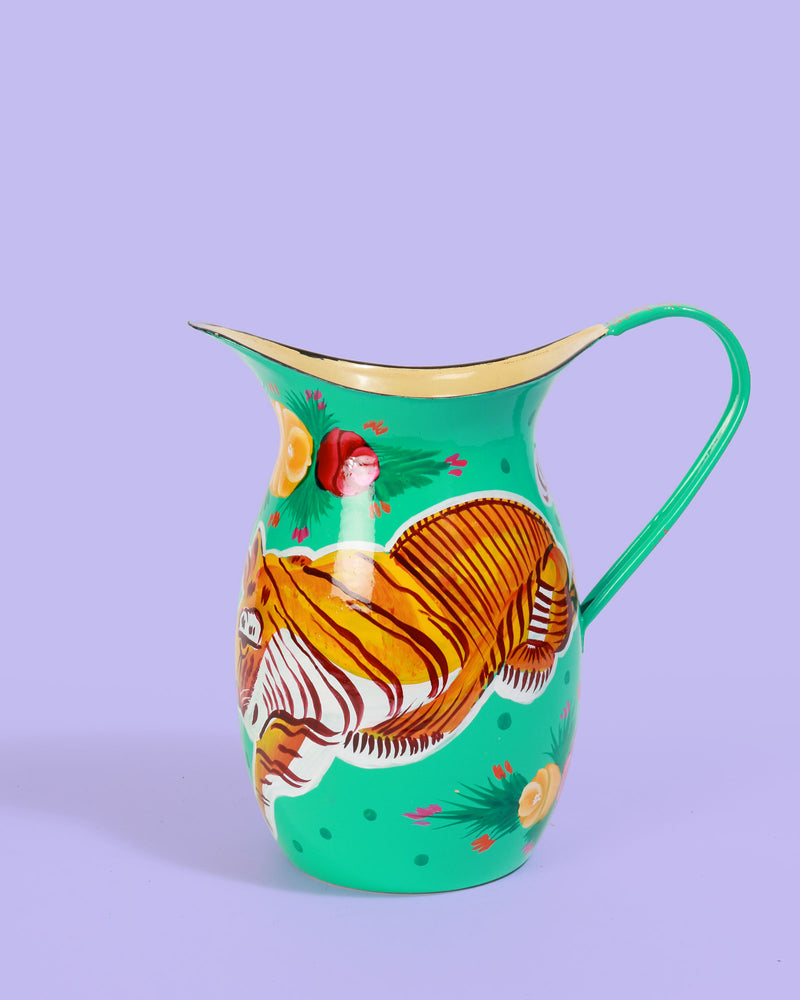 Hand-Painted Enamel Tiger Jug, Turquoise