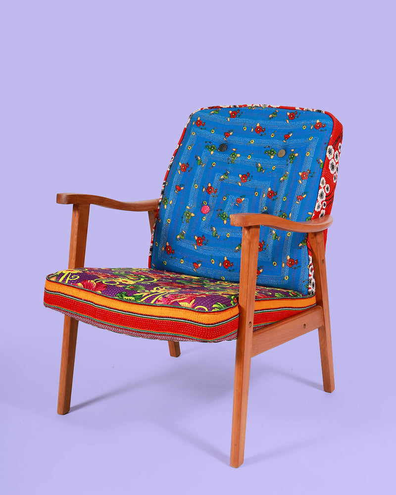 Hand-Stitched Vintage Patchwork Arm Chair, Blue Floral