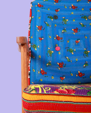 Load image into Gallery viewer, Hand-Stitched Vintage Patchwork Arm Chair, Blue Floral