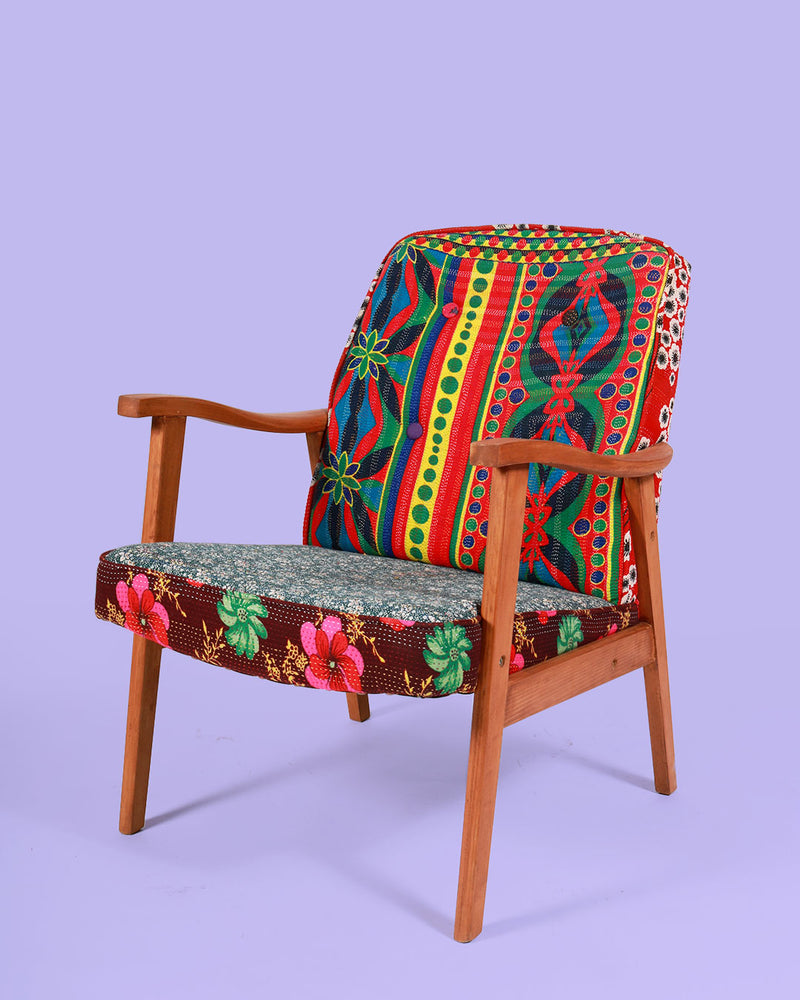 Hand-Stitched Vintage Patchwork Arm Chair, Retro Red