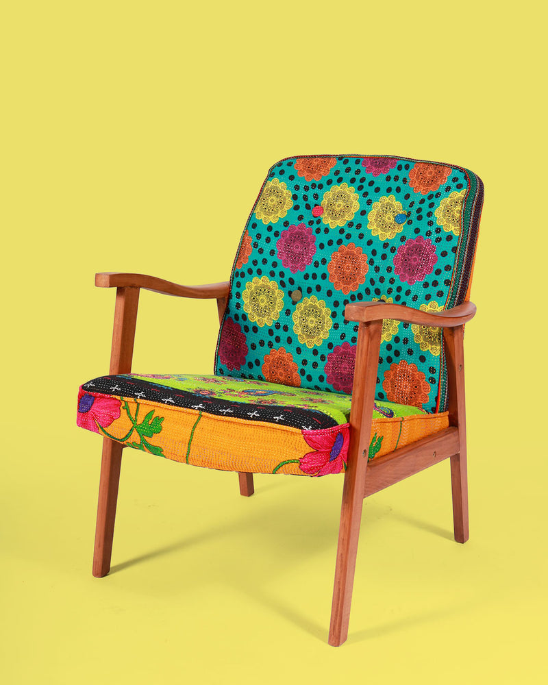 Hand-Stitched Vintage Patchwork Arm Chair, Green Paisley