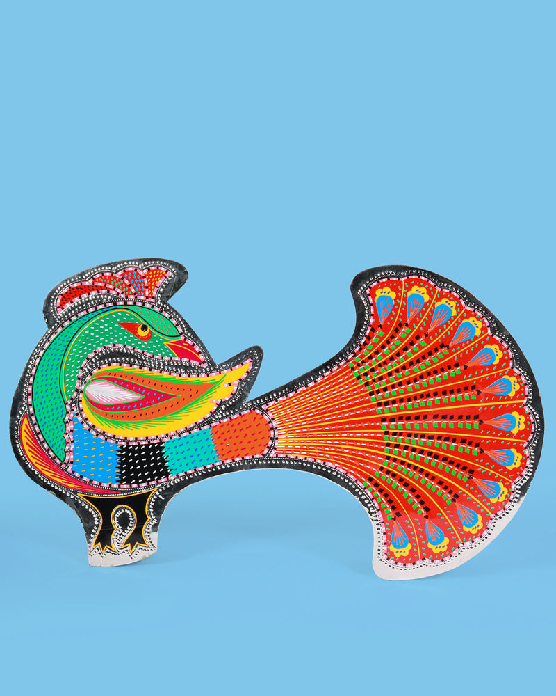 Truck Art Wall Plaque, Peacock