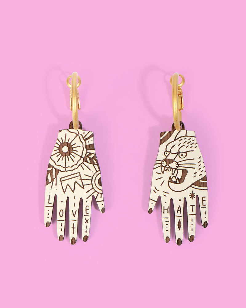 Love & Hate Tattoo Earrings