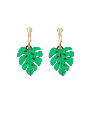 Load image into Gallery viewer, Materia Rica Monstera Leaf Earrings