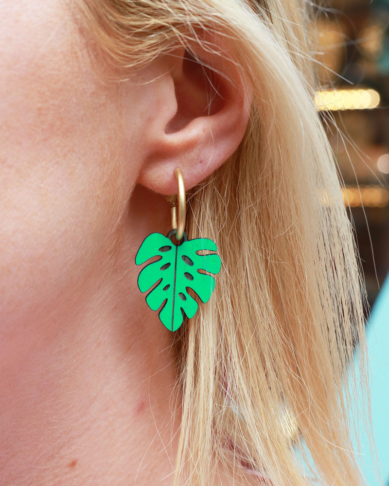 Materia Rica Monstera Leaf Earrings