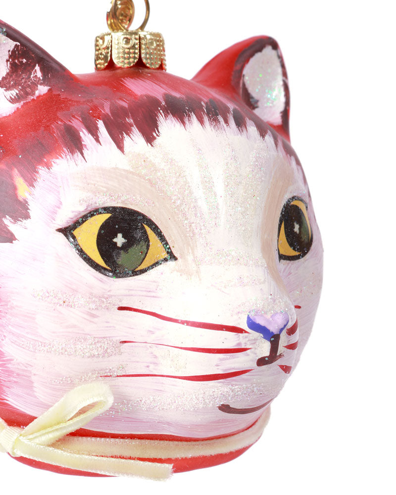 Nathalie Lété Cat Face Ornament, Red