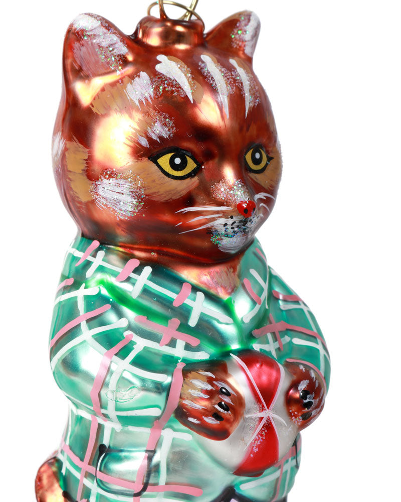 Nathalie Lété Cat Ornament, Checked Jacket