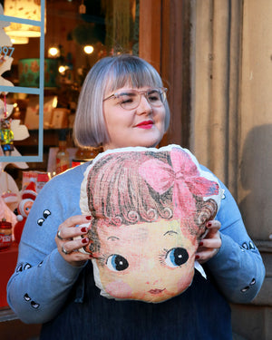Load image into Gallery viewer, Nathalie Lété Doll Face Cushion