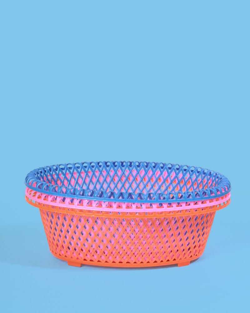 Oval Storage Baskets, Set of 3 Pastel