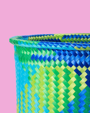 Handwoven Mexican Basket, Blue & Green
