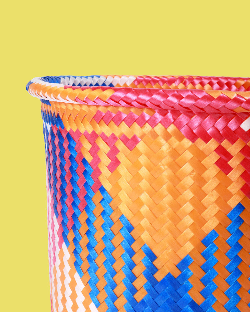 Mexican Handwoven Basket, Blue & Coral