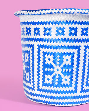 Handwoven Mexican Basket, Blue &White