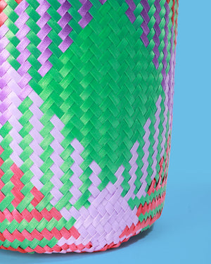 Mexican Handwoven Basket, Green & Pink