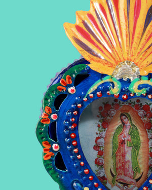 Guadalupe Corazon Wall Shrine, Cobalt
