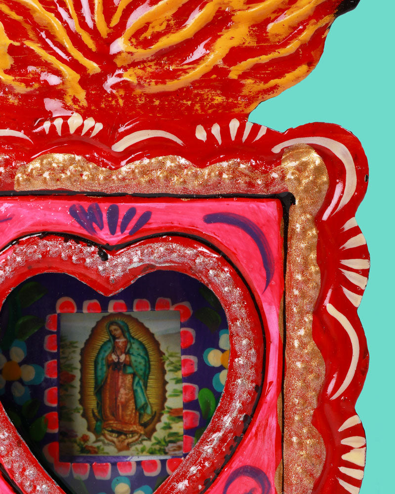 Guadalupe Neon Flame Wall Shrine