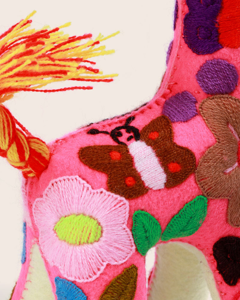 Hand Embroidered Magic Giraffe, Fuchsia