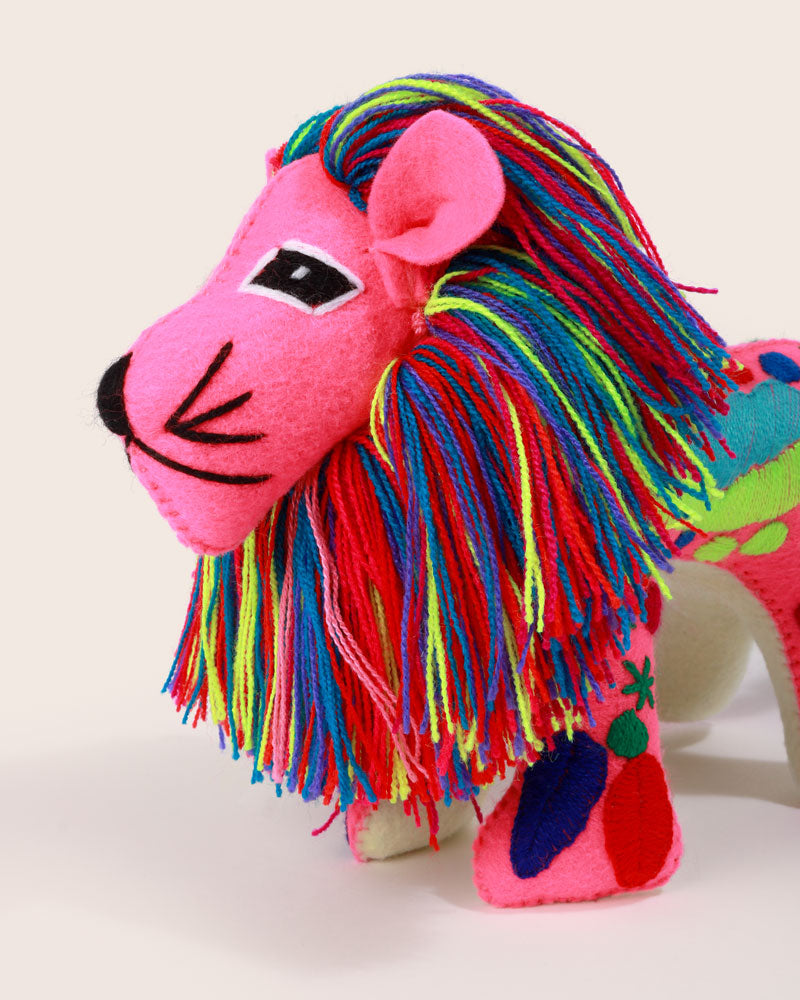 Hand Embroidered Magic Lion, Fuchsia