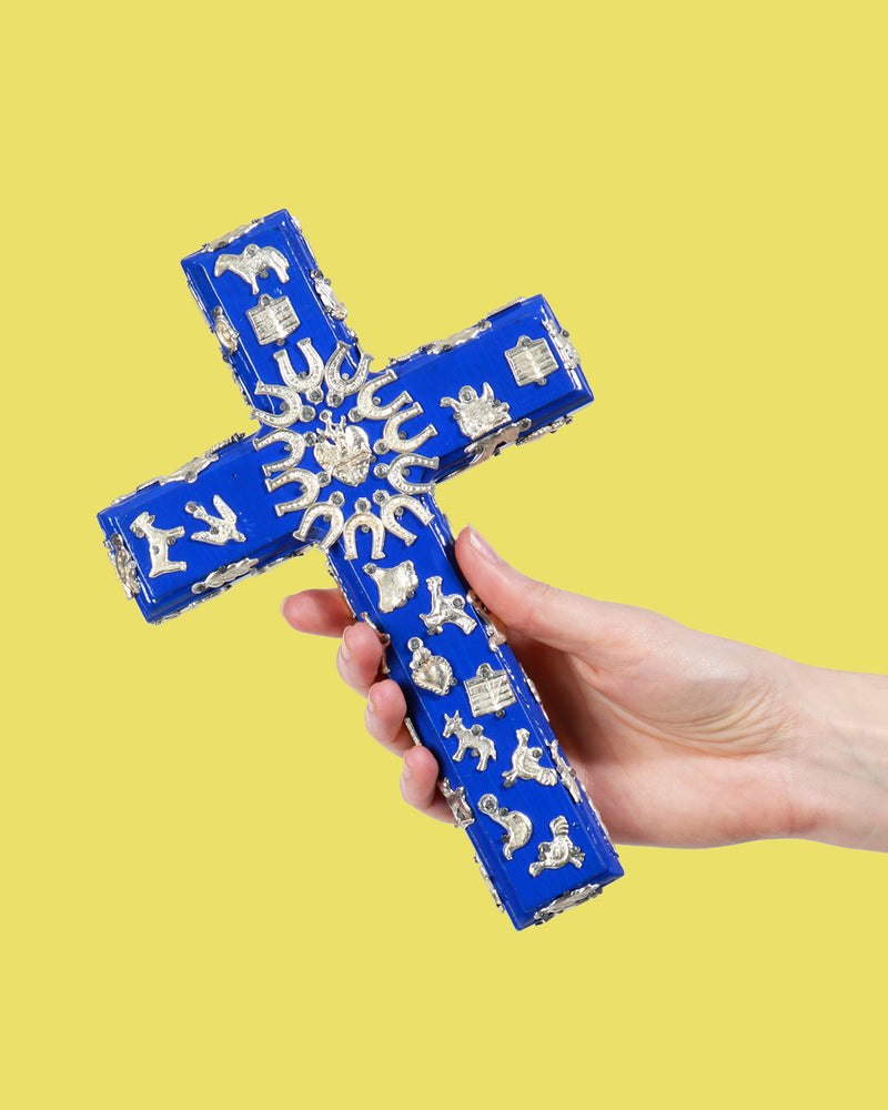 Painted Wood Milagritos Cross, Cobalt & Silver