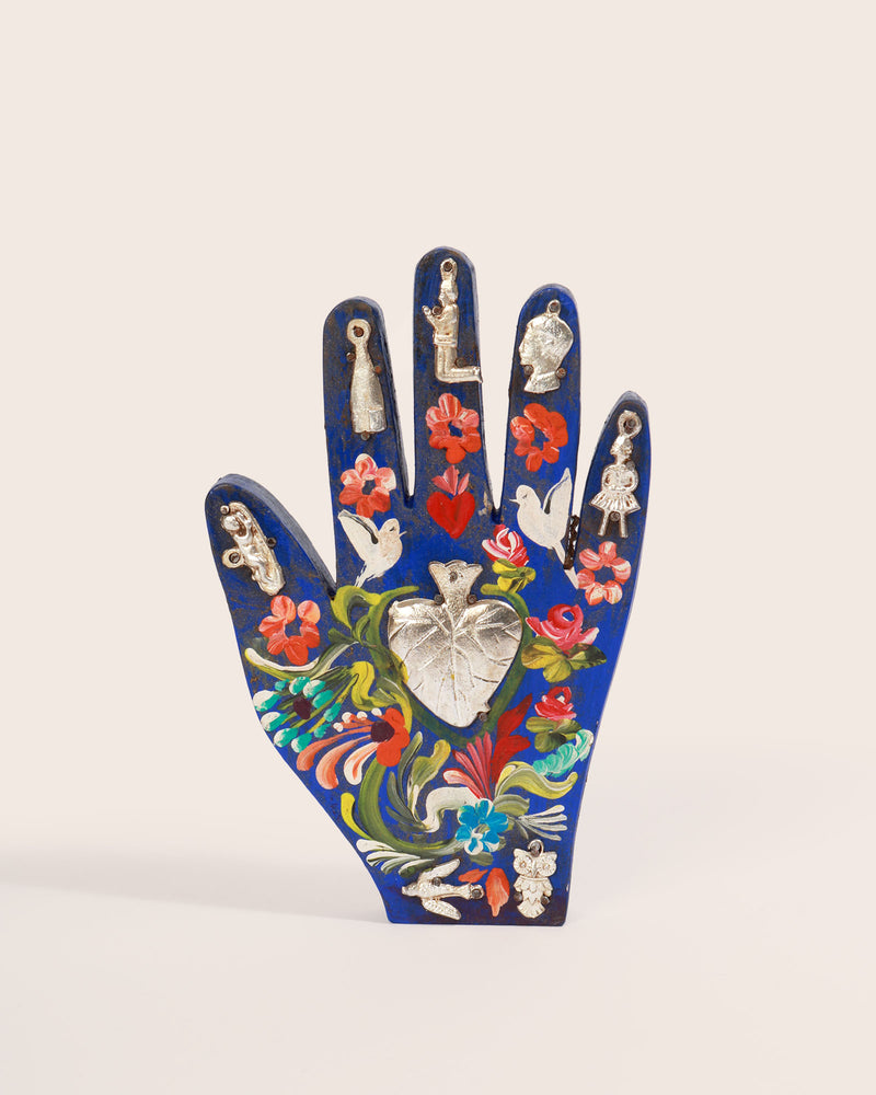Painted Wood Milagros Hand, Cobalt Blue