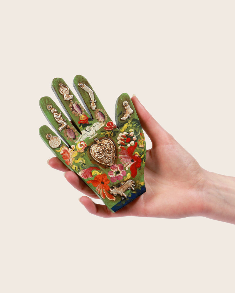 Painted Wood Milagros Hand, Green