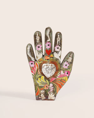 Painted Wood Milagros Hand, Natural