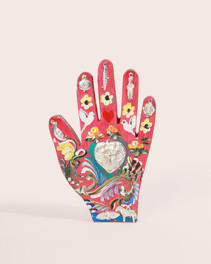 Painted Wood Milagros Hand, Pink