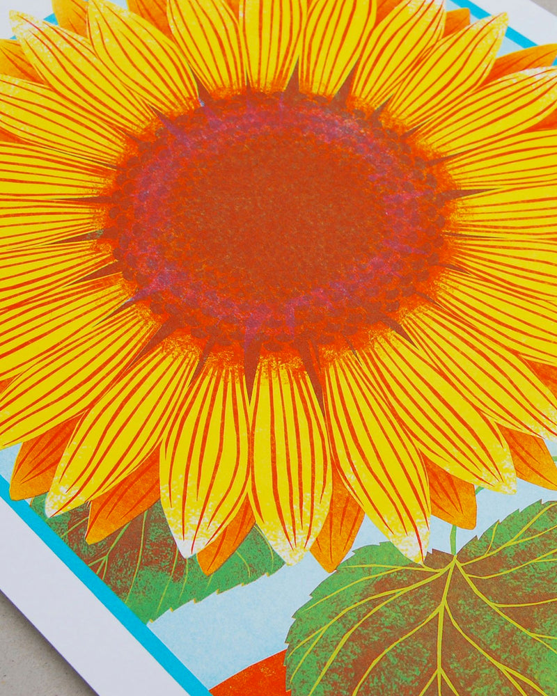 Sunflower Risograph Print