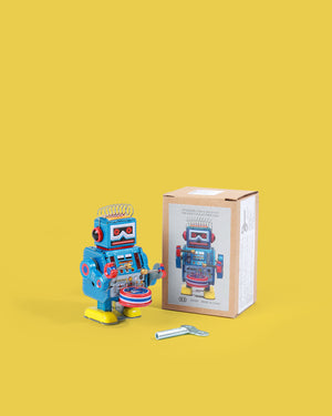 Small Blue Drumming Robot Tin Toy