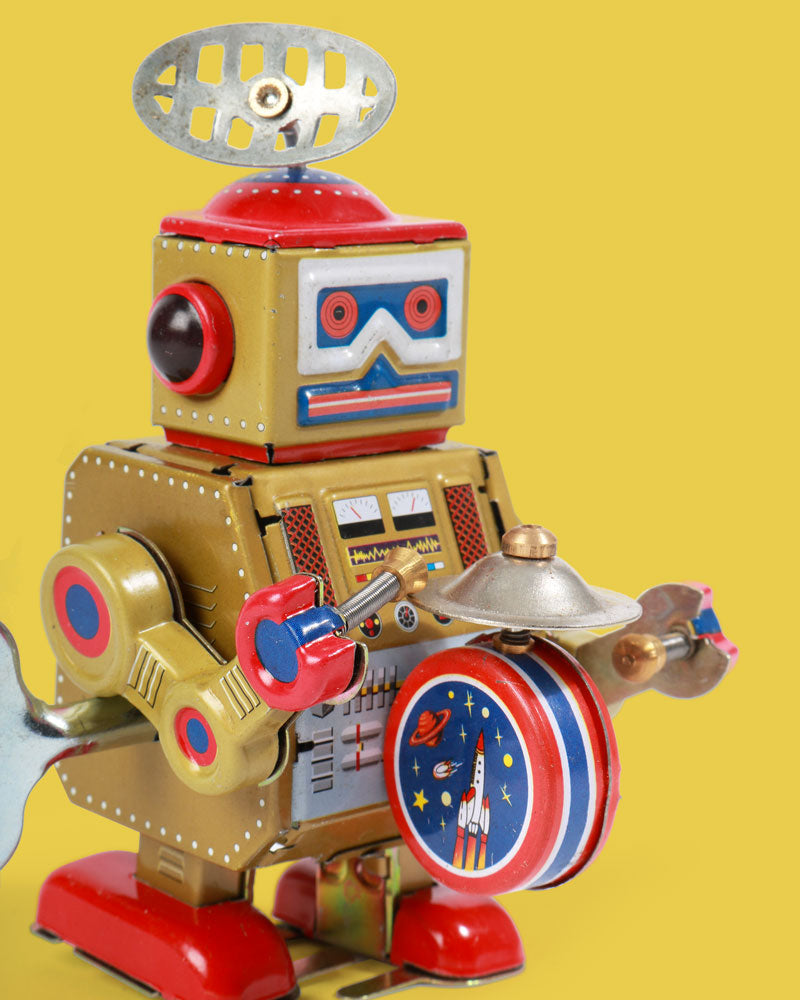 Load image into Gallery viewer, Small Gold Drumming Robot